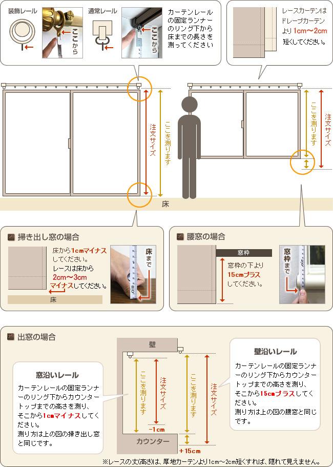 カーテンの高さの測り方