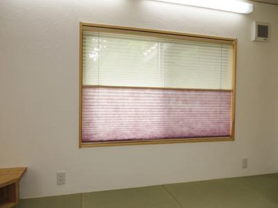 ダブルタイプのプリーツスクリーンは、日中暗くなりすぎず、 視線をカットできるので、和室におすすめです。