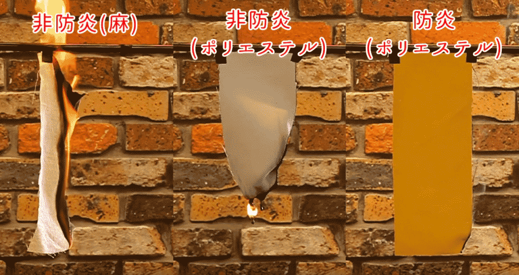 厚地カーテンの燃焼比較実験