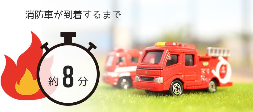 消防車の到着までは約8分