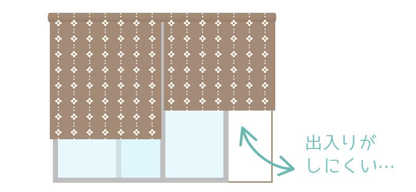 出入りの多い掃き出し窓にロールスクリーンは不向きです