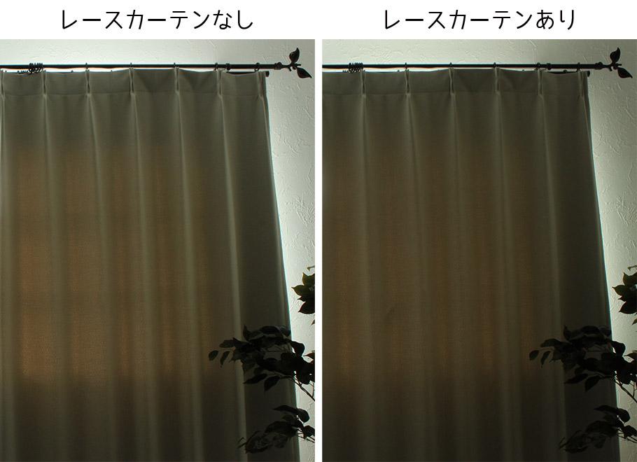 遮光カーテンとレースカーテン有無の比較