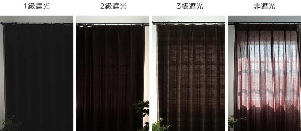 遮光カーテン 等級別の比較画像