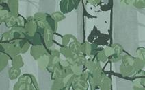 ボタニカル柄のドレープカーテン